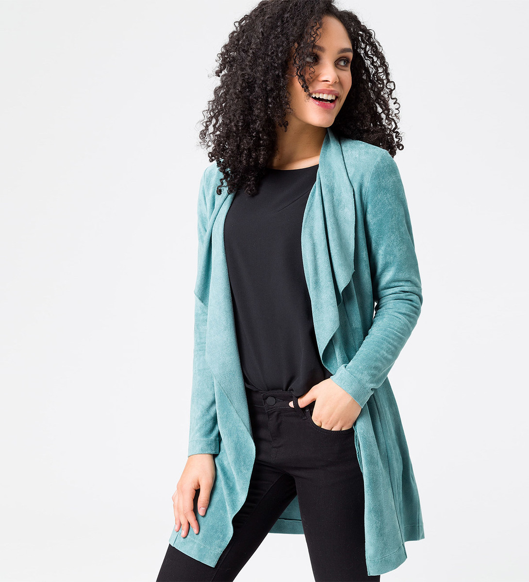 Jersey Cardigan in Velours-Optik in dusk jade