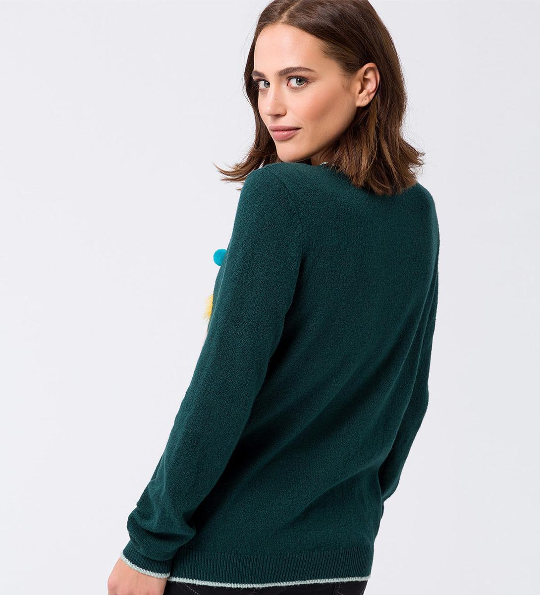 Pullover mit weihnachtlichem Motiv in dark teal