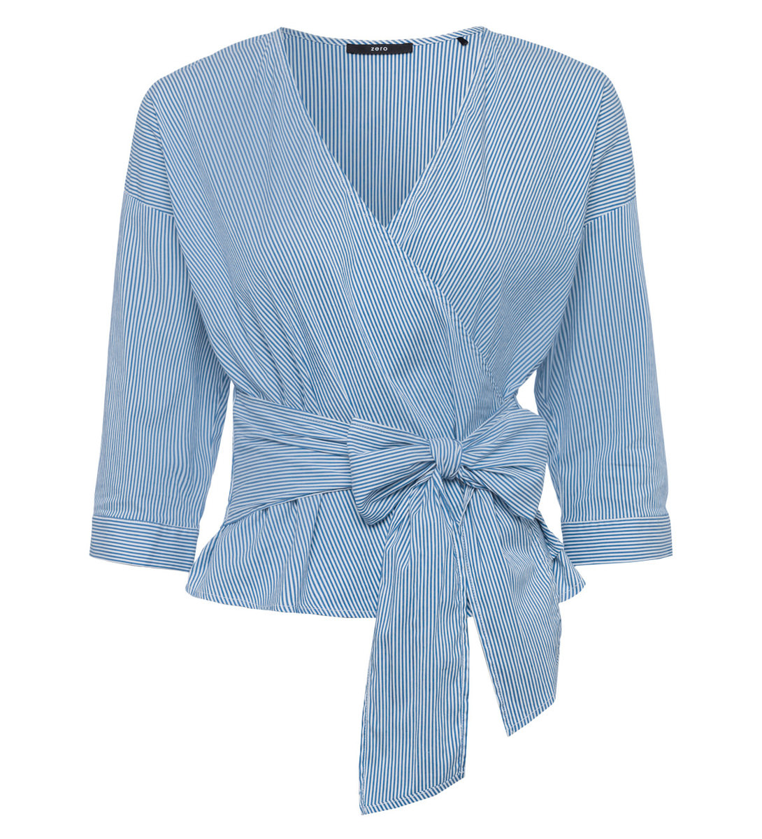Bluse im Wickel-Look in water blue