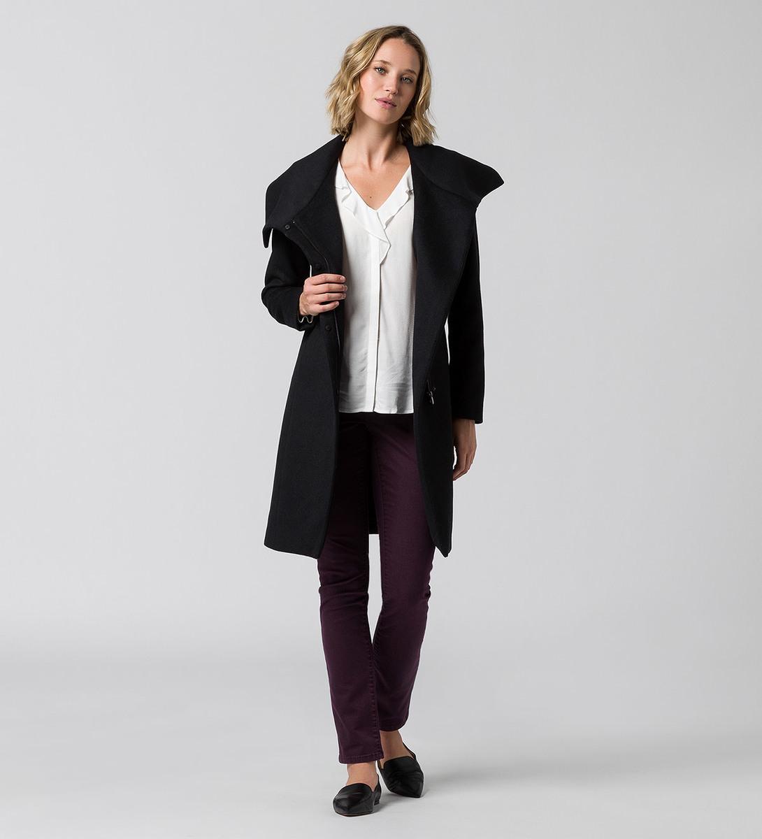 Mantel mit Wolle in black