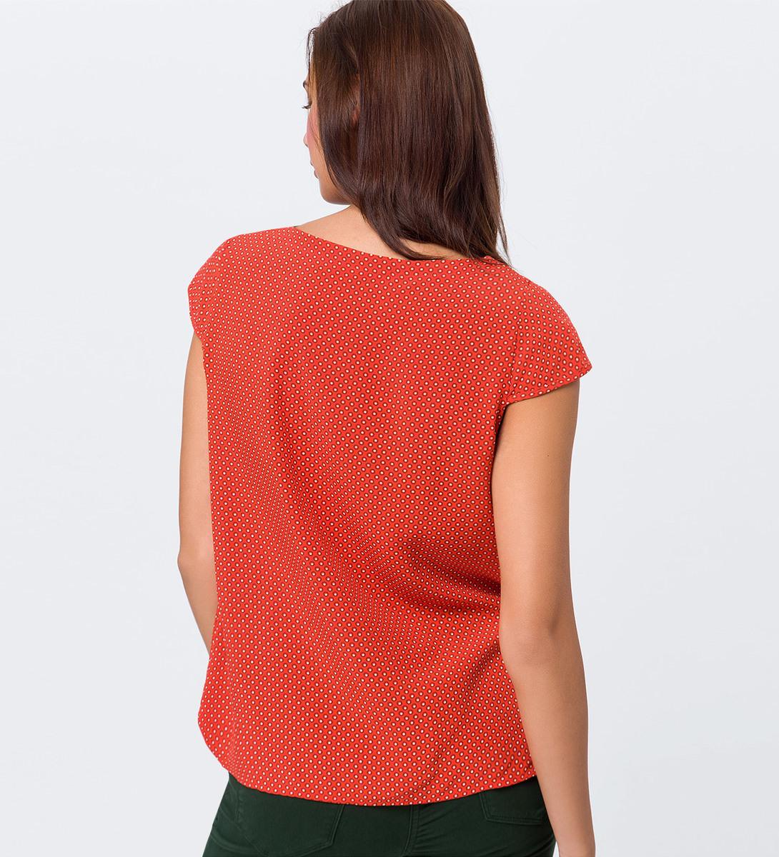 Bluse mit Flügelärmeln in orange red