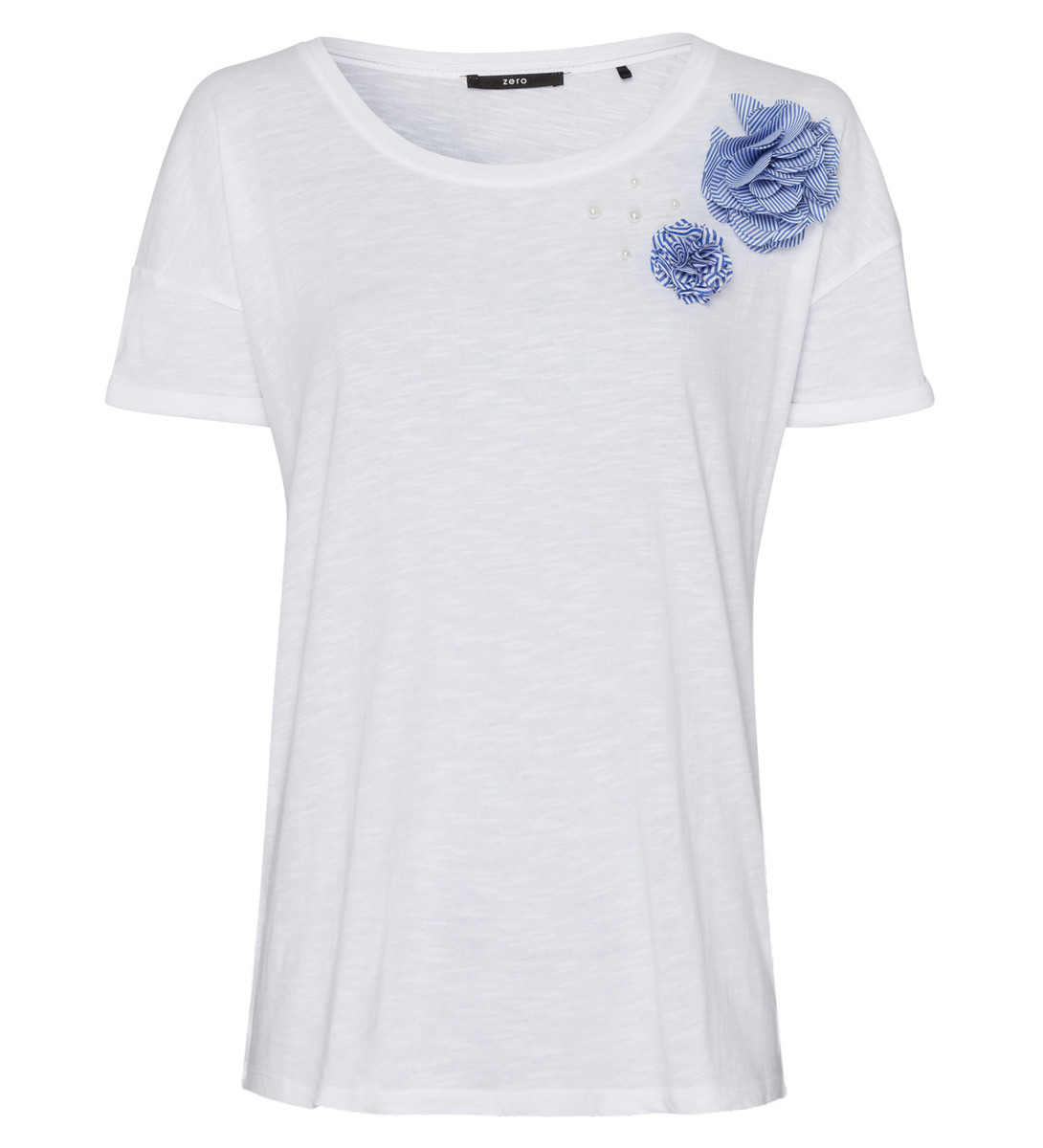T-Shirt mit Applikationen in white