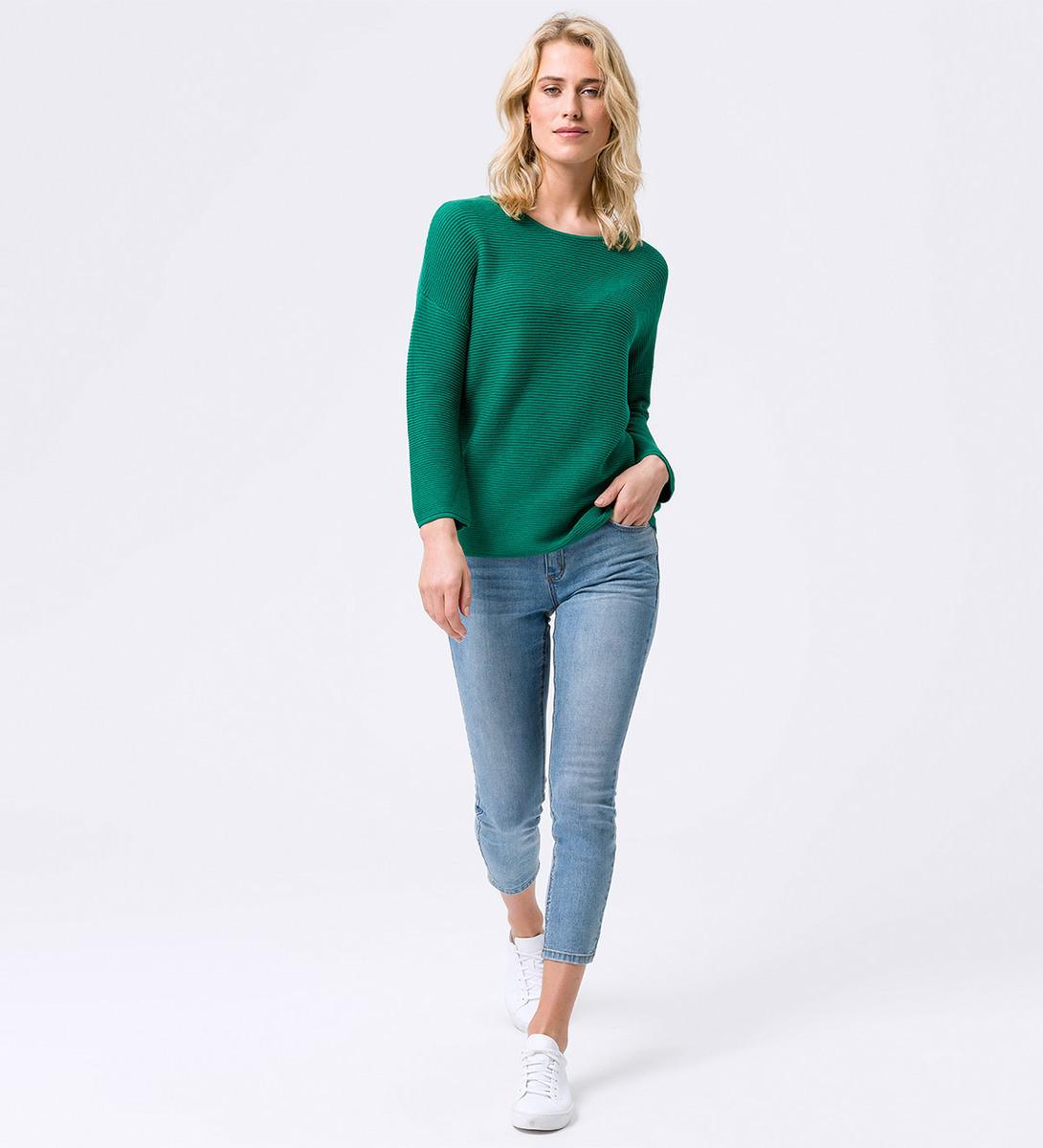 Pullover in Ripp-Optik in green