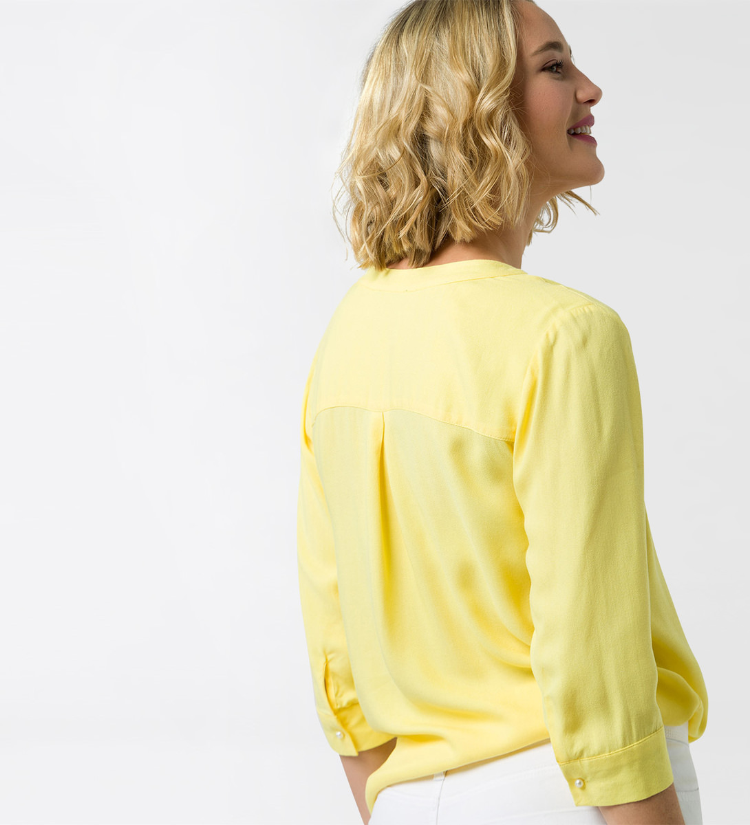 Bluse mit Serafino-Ausschnitt in lemon