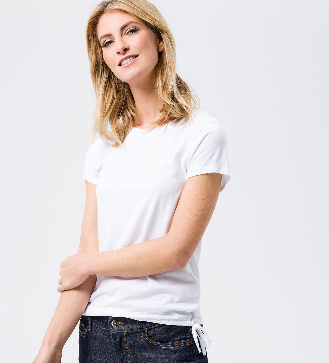 Shirt mit Tunnelzug am Bund in white