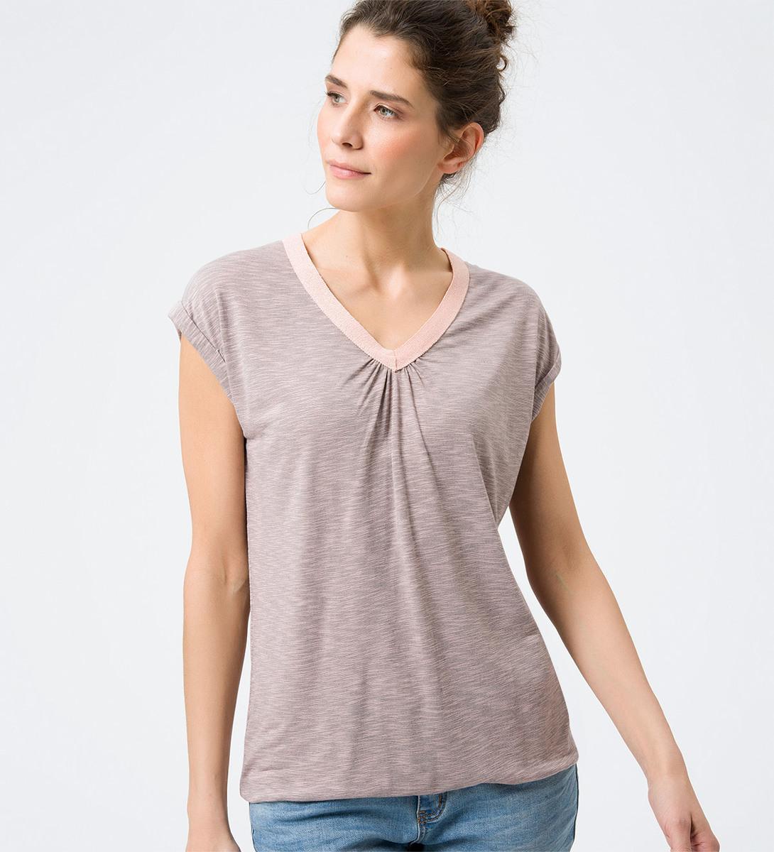Shirt mit V-Ausschnitt in dusty pink