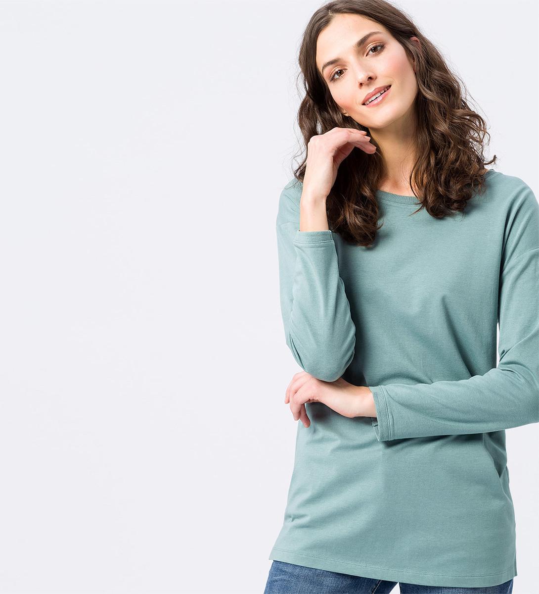 Shirt im unifarbenen Design in dusk jade