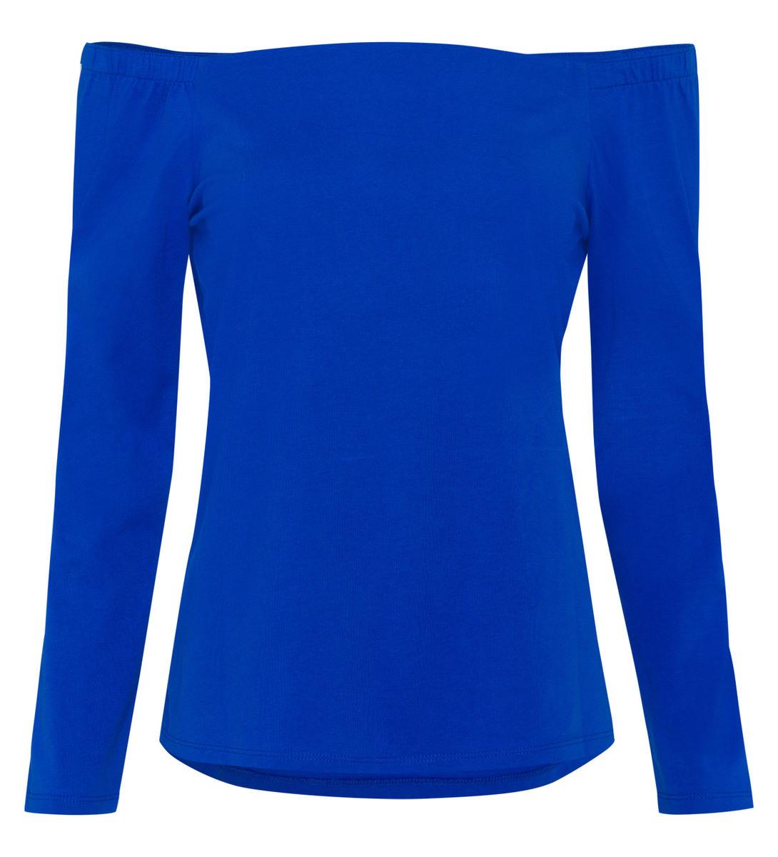 T-Shirt mit U-Boot-Ausschnitt in cobalt blue