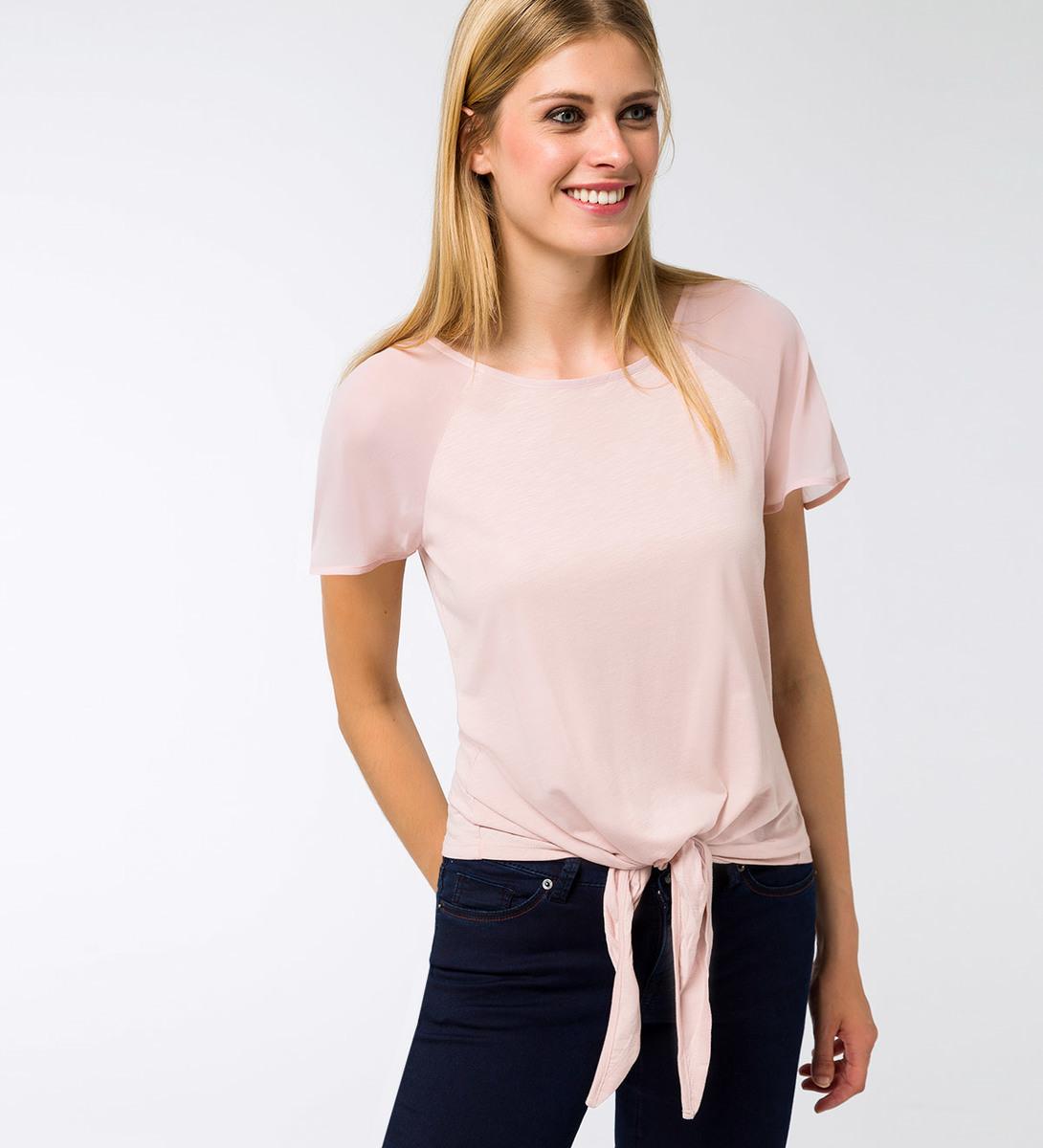 T-Shirt mit transparenten Ärmeln in soft rose
