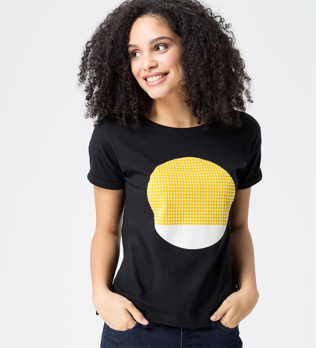 T-Shirt mit gummiertem Frontprint in black