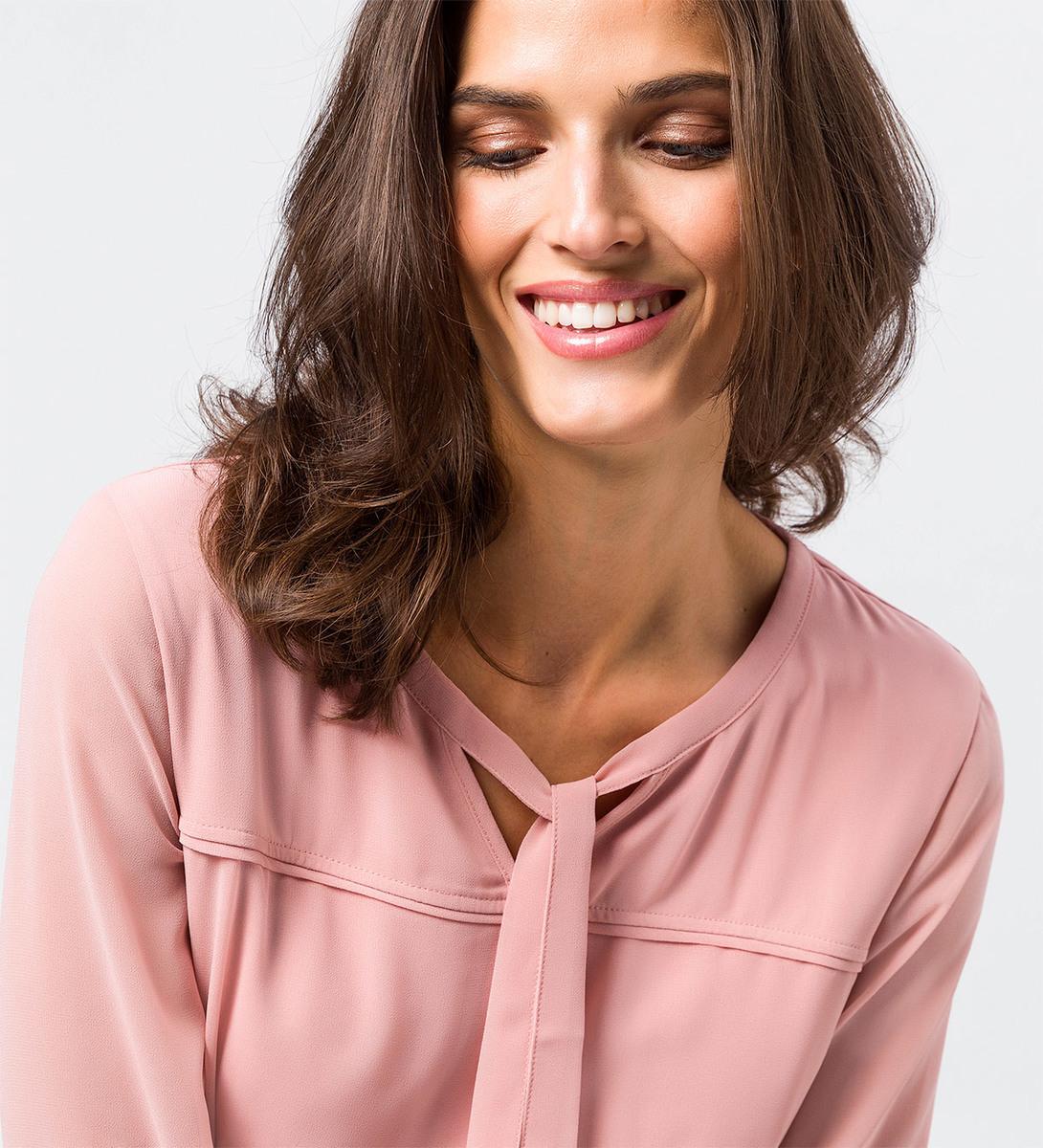 Bluse mit Bindeband in dusk rose