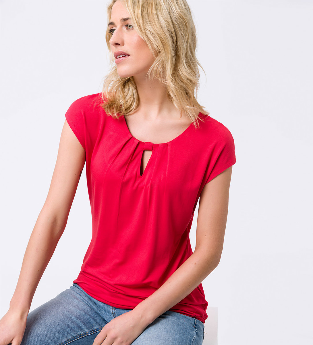 Shirt mit Keyhole-Design in hot coral