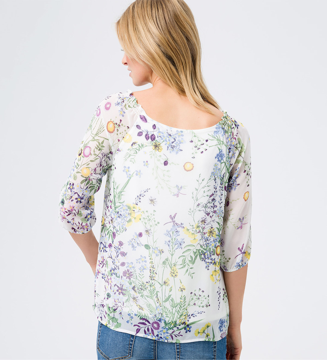 Blusenshirt mit floralem Muster in soft white