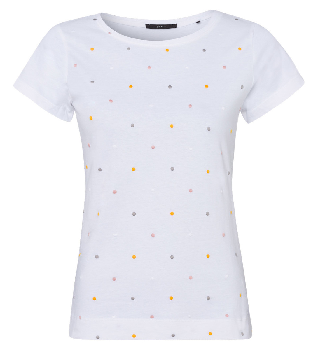 Jersey-Top mit eingestickten Punkten in white