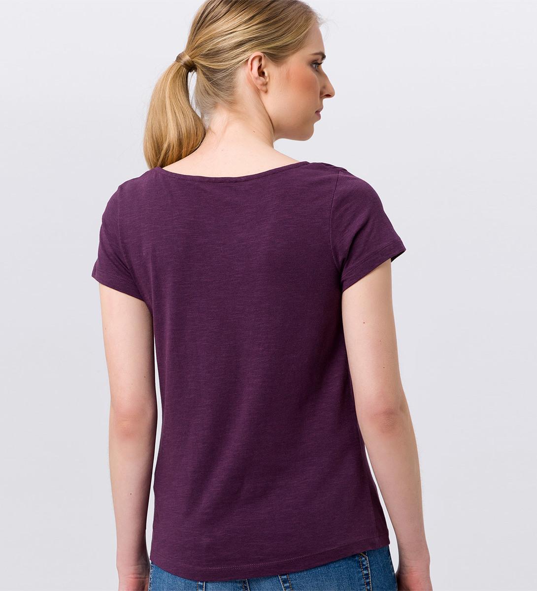 T-Shirt mit Frontprint in plum