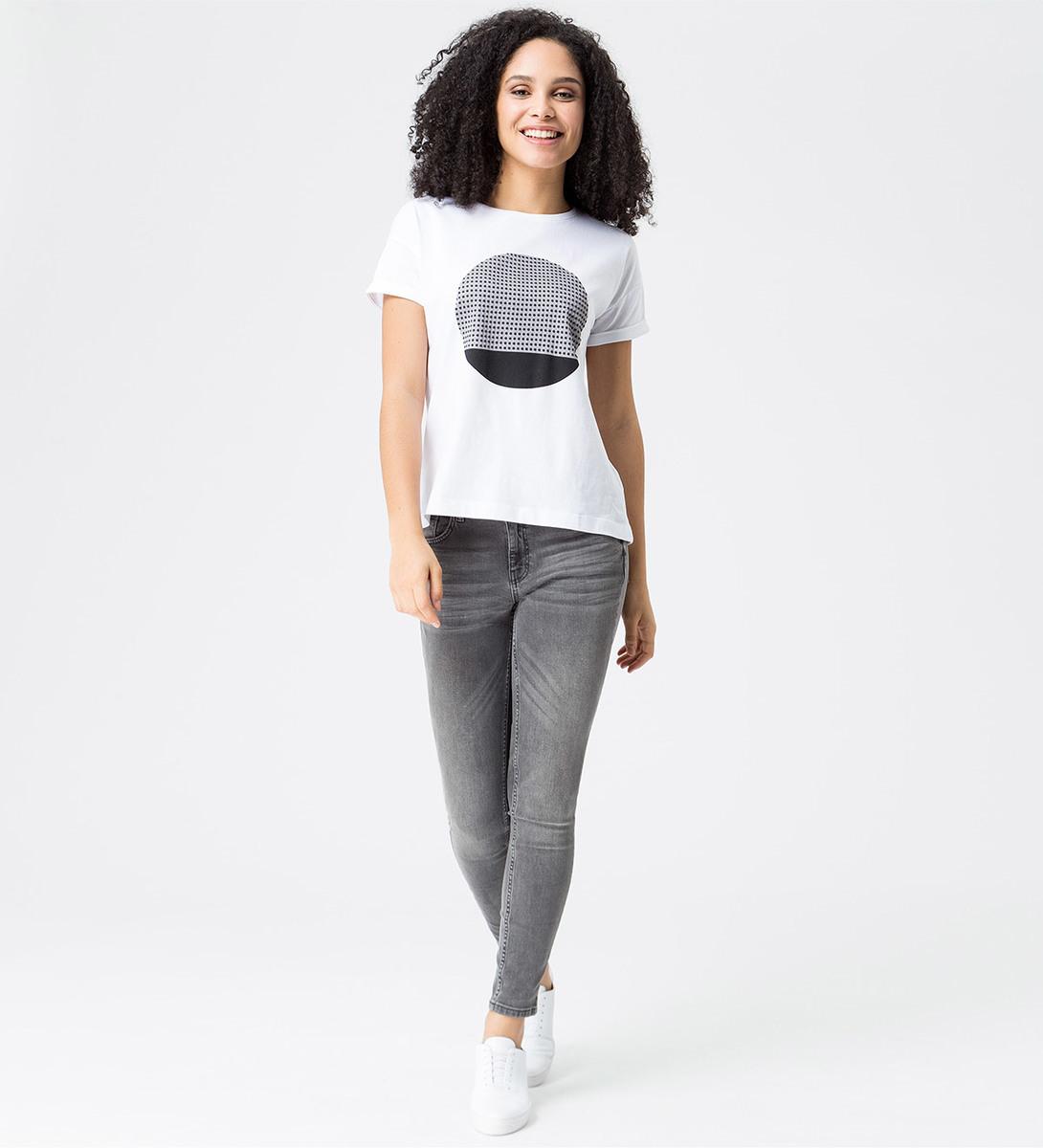 T-Shirt mit gummiertem Frontprint in stone grey