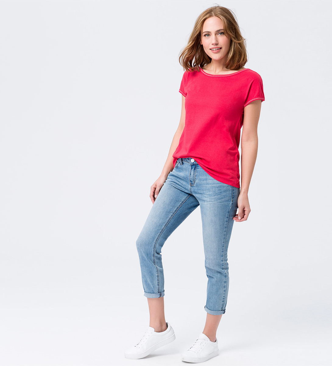 T-Shirt im Basic-Look in hot coral
