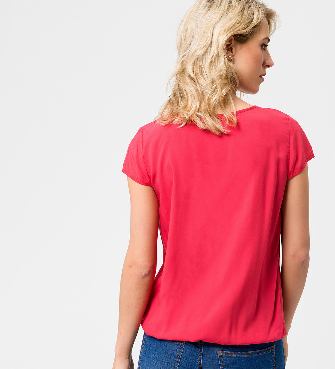 Bluse mit Faltendetail in hot coral