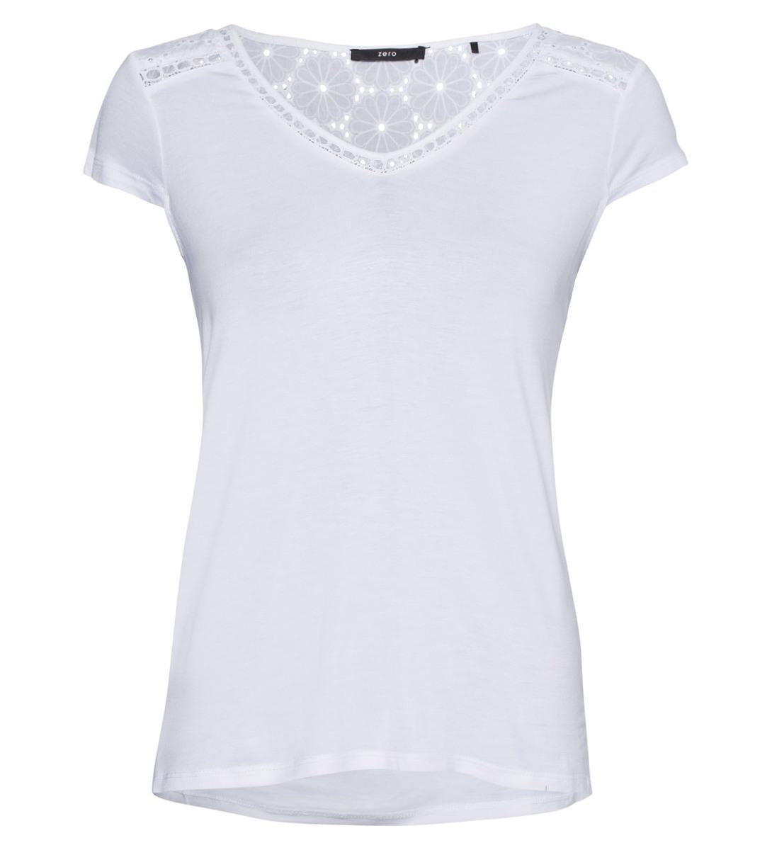 T-Shirt mit Lochspitze in white