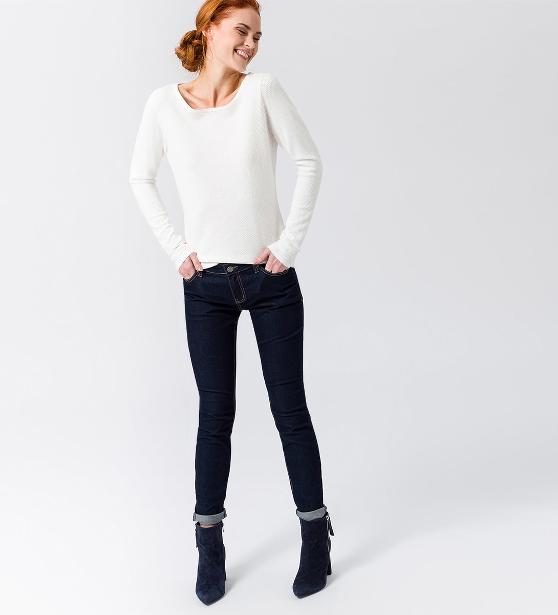 Pullover in Feinstrickqualität in offwhite