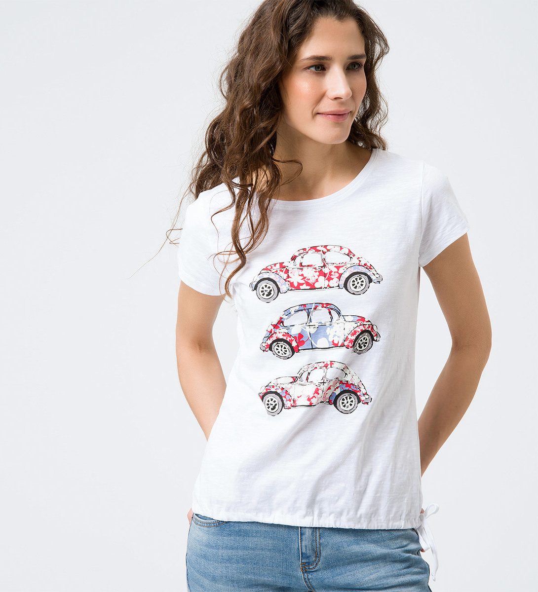 T-Shirt mit Frontprints in white