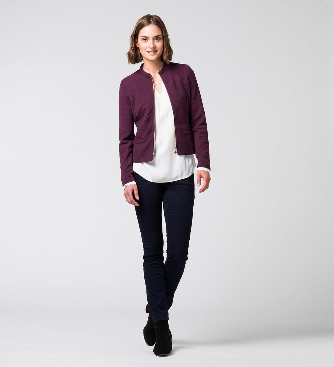 Jersey Cardigan mit Reißverschluss in plum