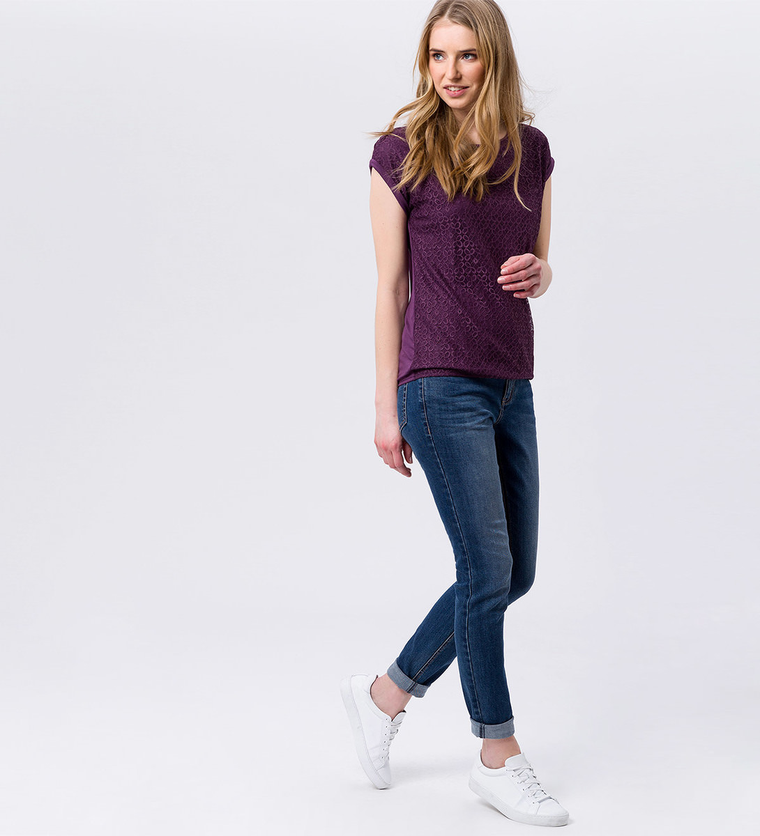 Shirt mit Spitzendesign in plum