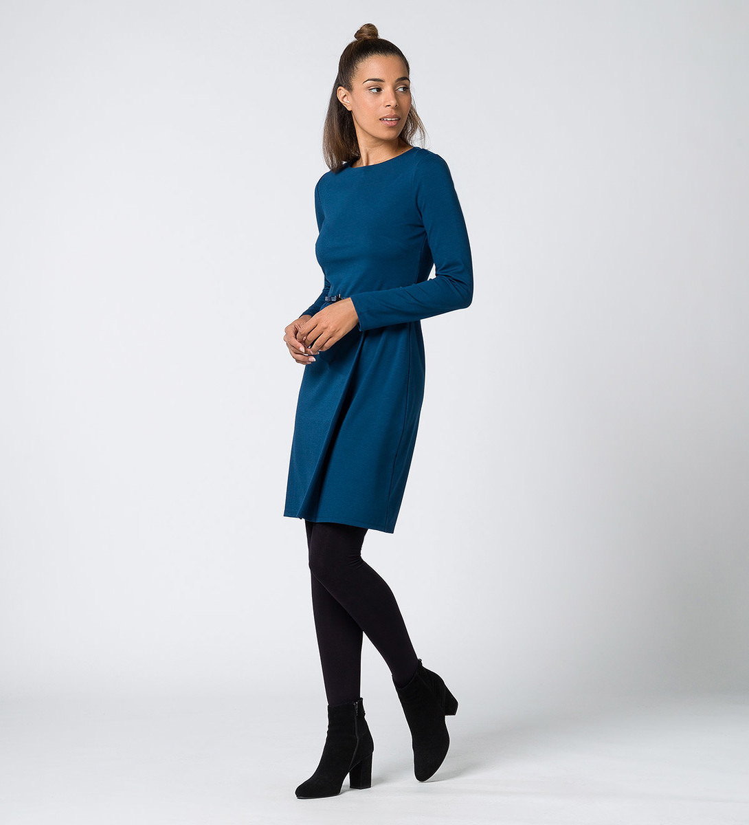Kleid mit Gürtel in petrol blue
