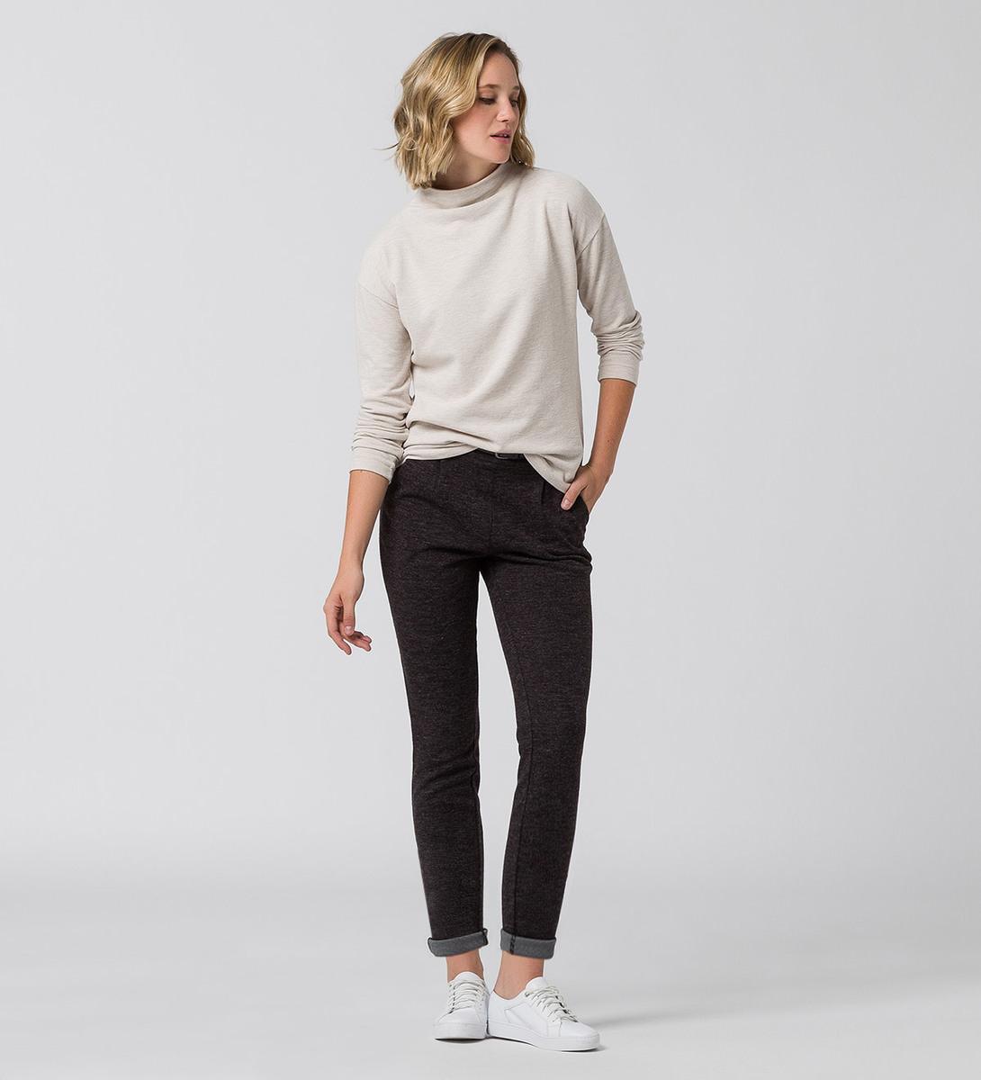Jersey Sweater mit kurzem Stehkragen in dove grey-m
