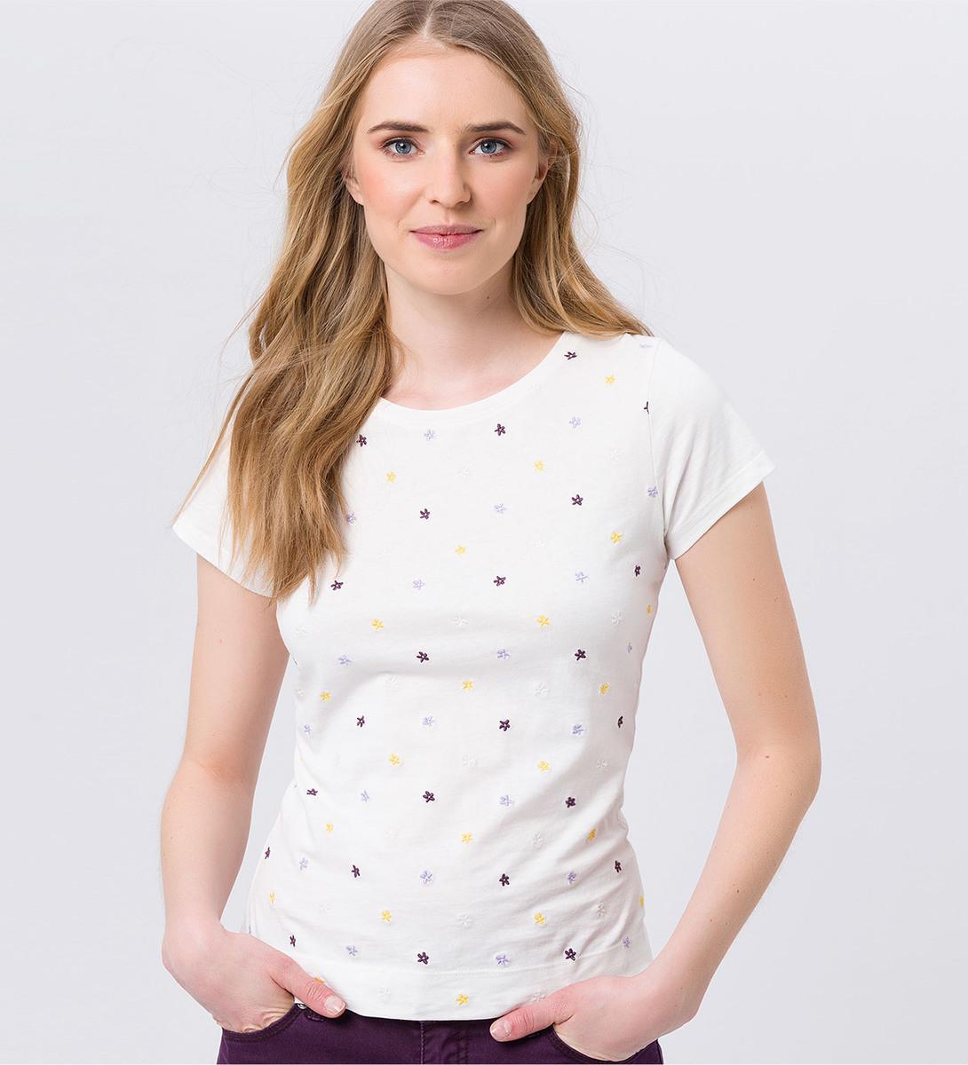 T-Shirt mit Blümchenstickerei in offwhite