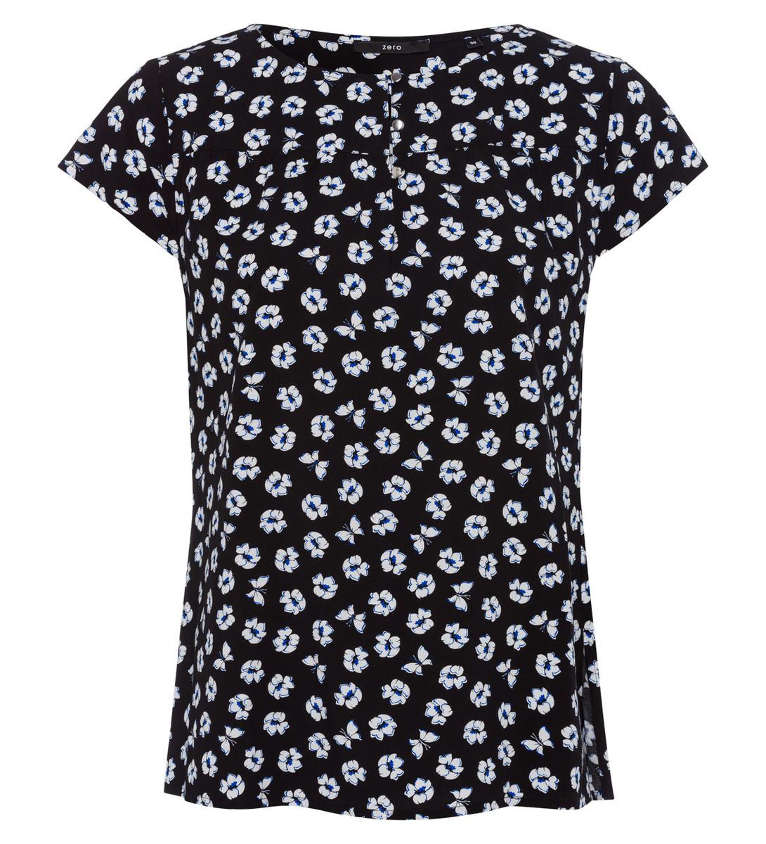 Bluse mit Blumenmuster in black