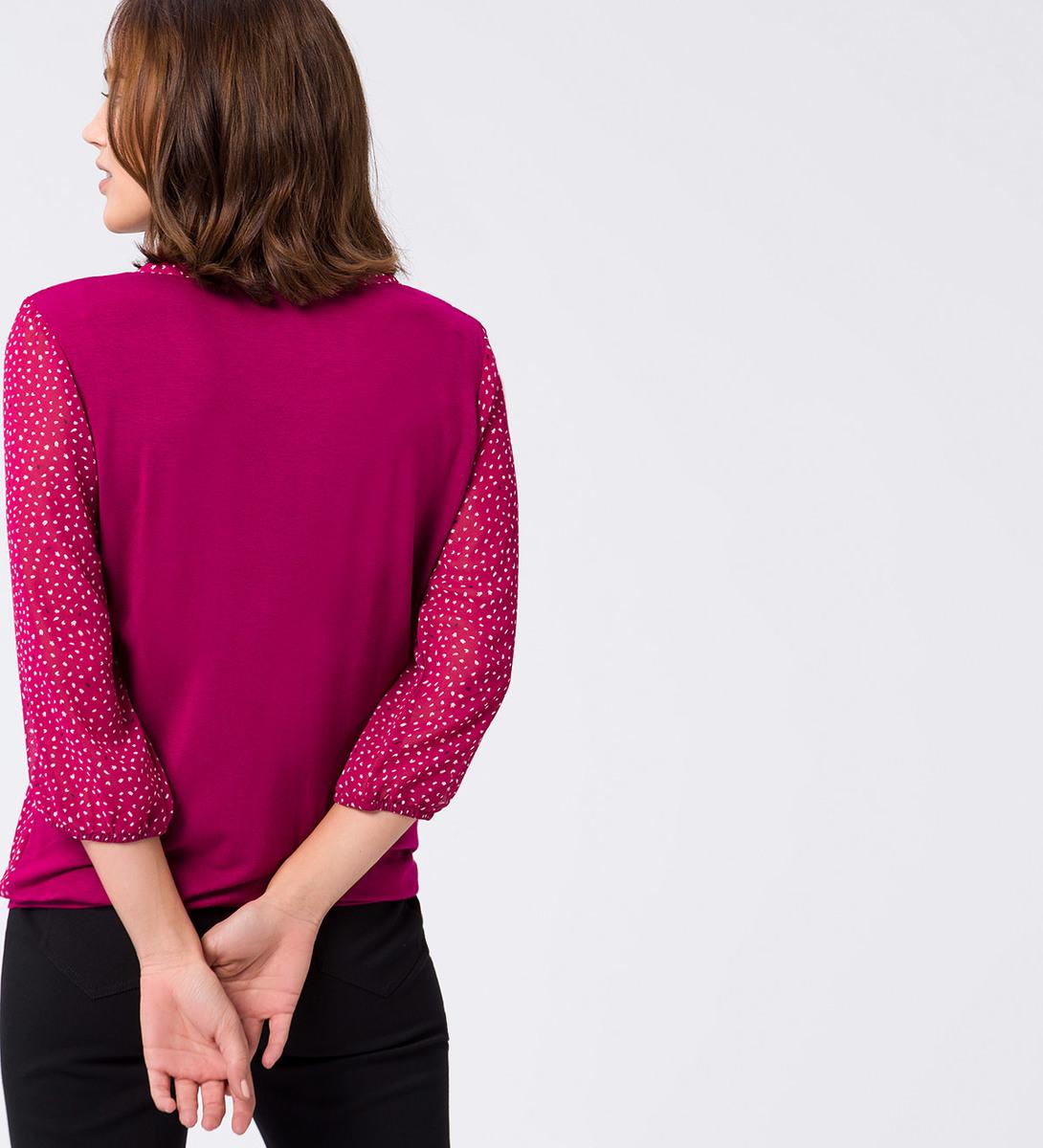 Bluse mit transparenten Ärmeln in dark magenta