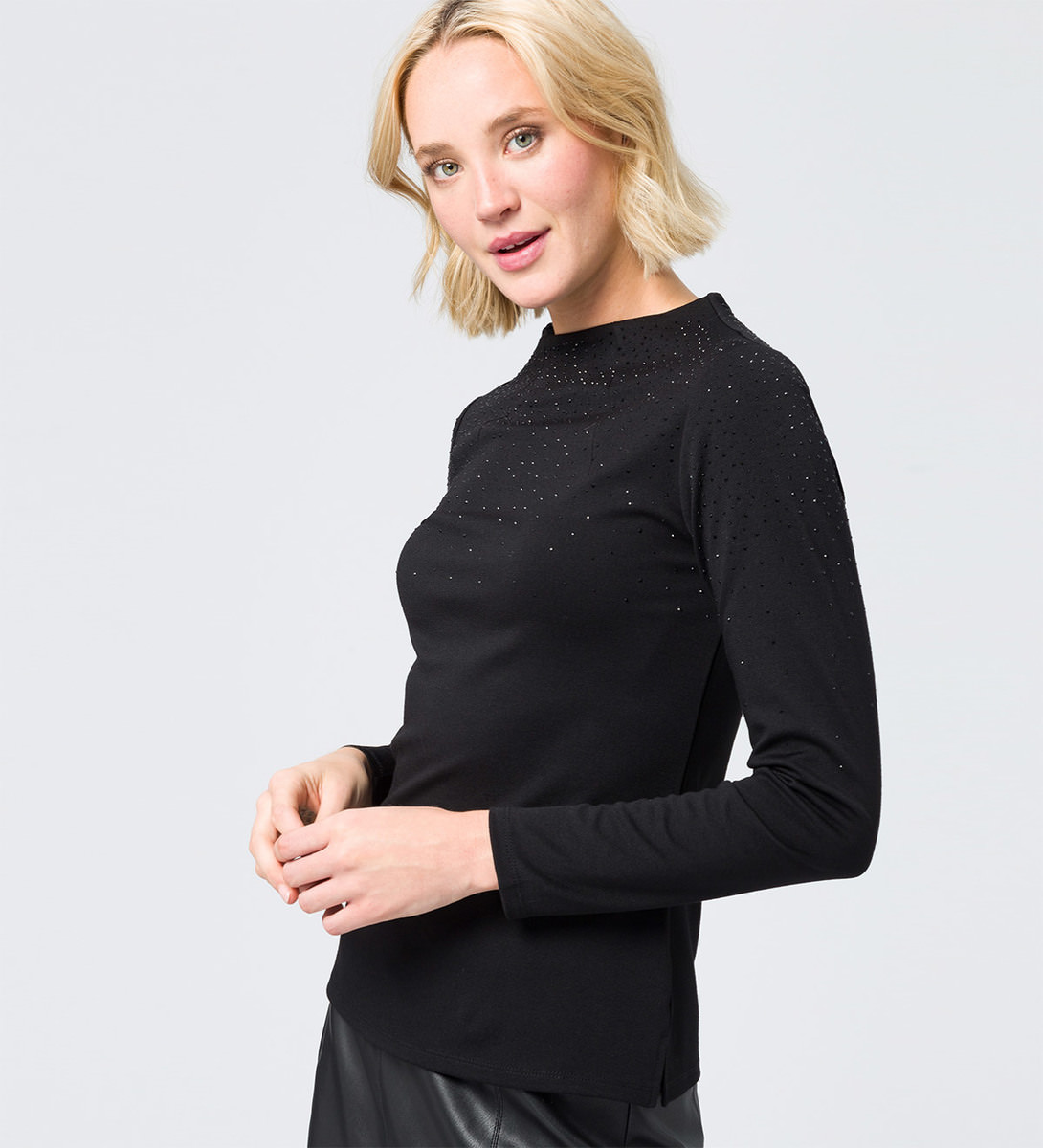 Shirt mit Strasssteinen in black