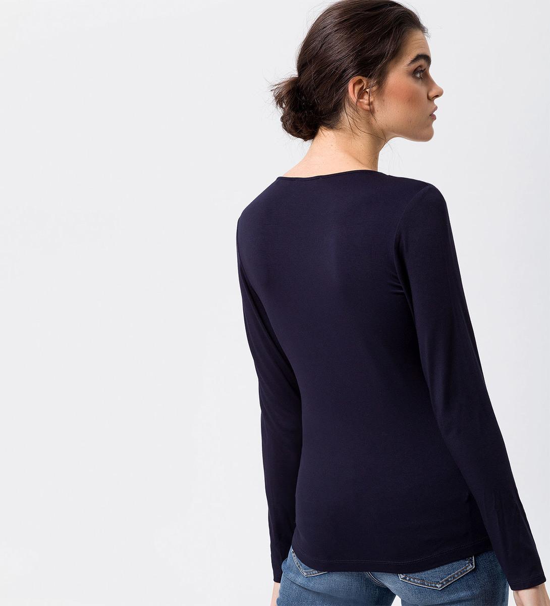 Shirt mit gerafftem V-Ausschnitt in blue black