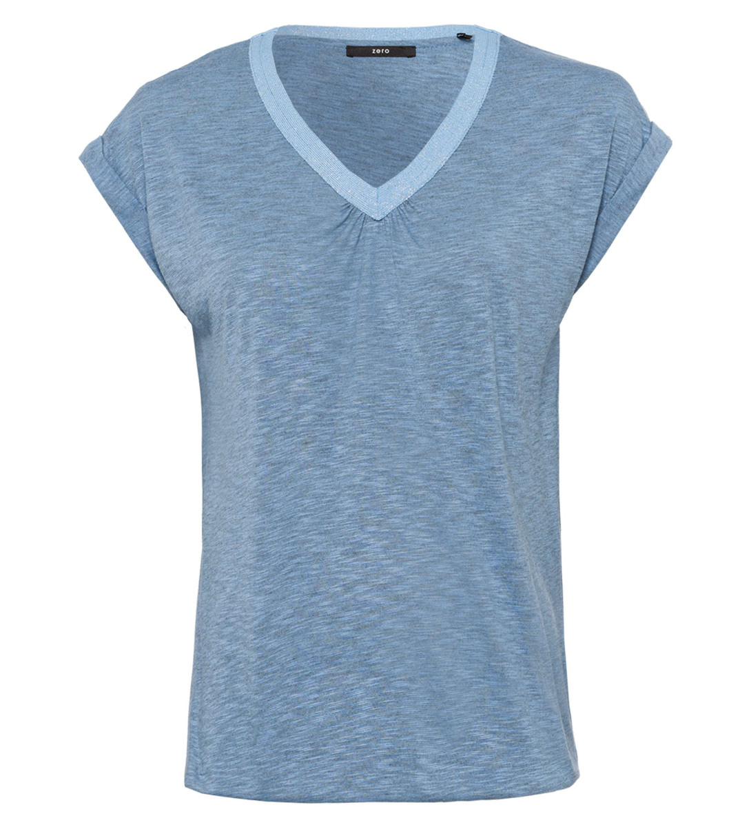 Shirt mit V-Ausschnitt in blue wave