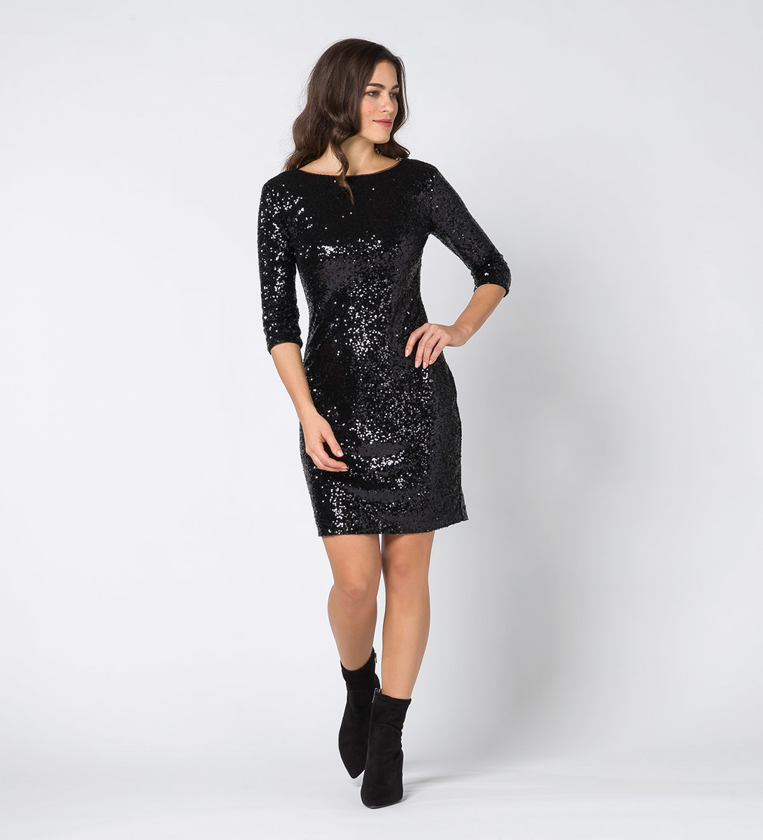Kleid mit Pailletten in black
