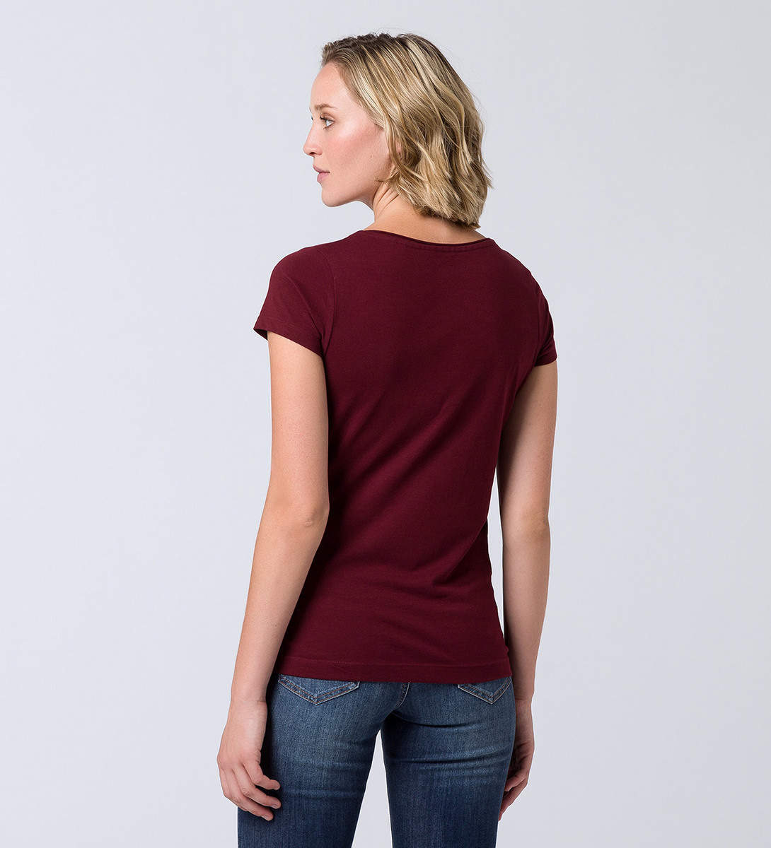 T-Shirt mit Statementprint in brick red