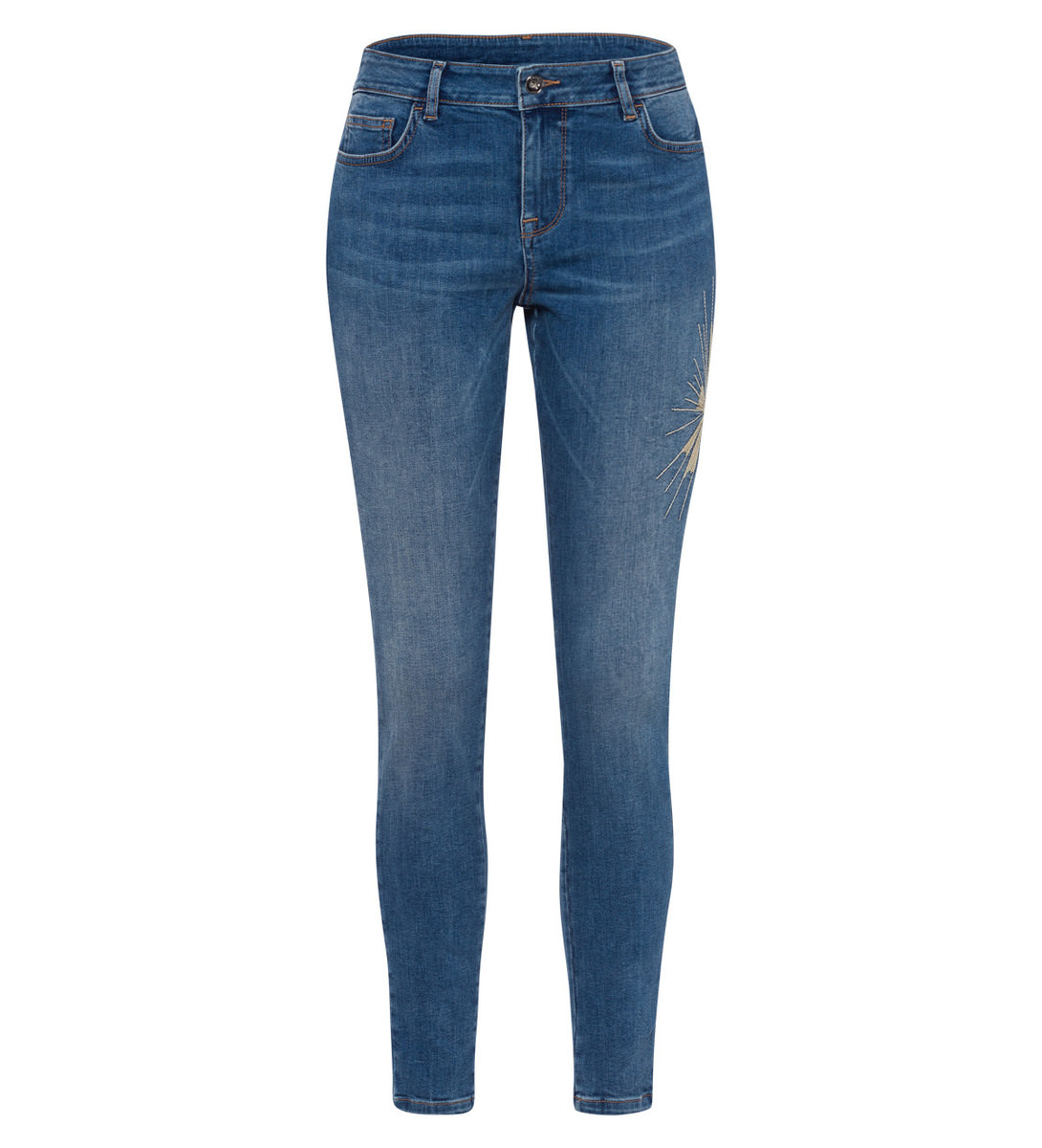 Jeans mit Applikation in mid blue authentic wash
