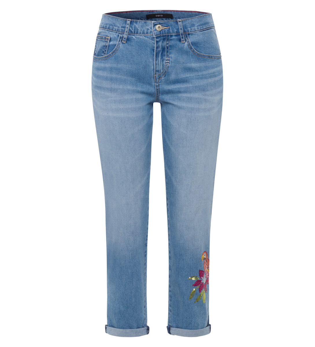 Jeans mit Applikation in mid blue pailette