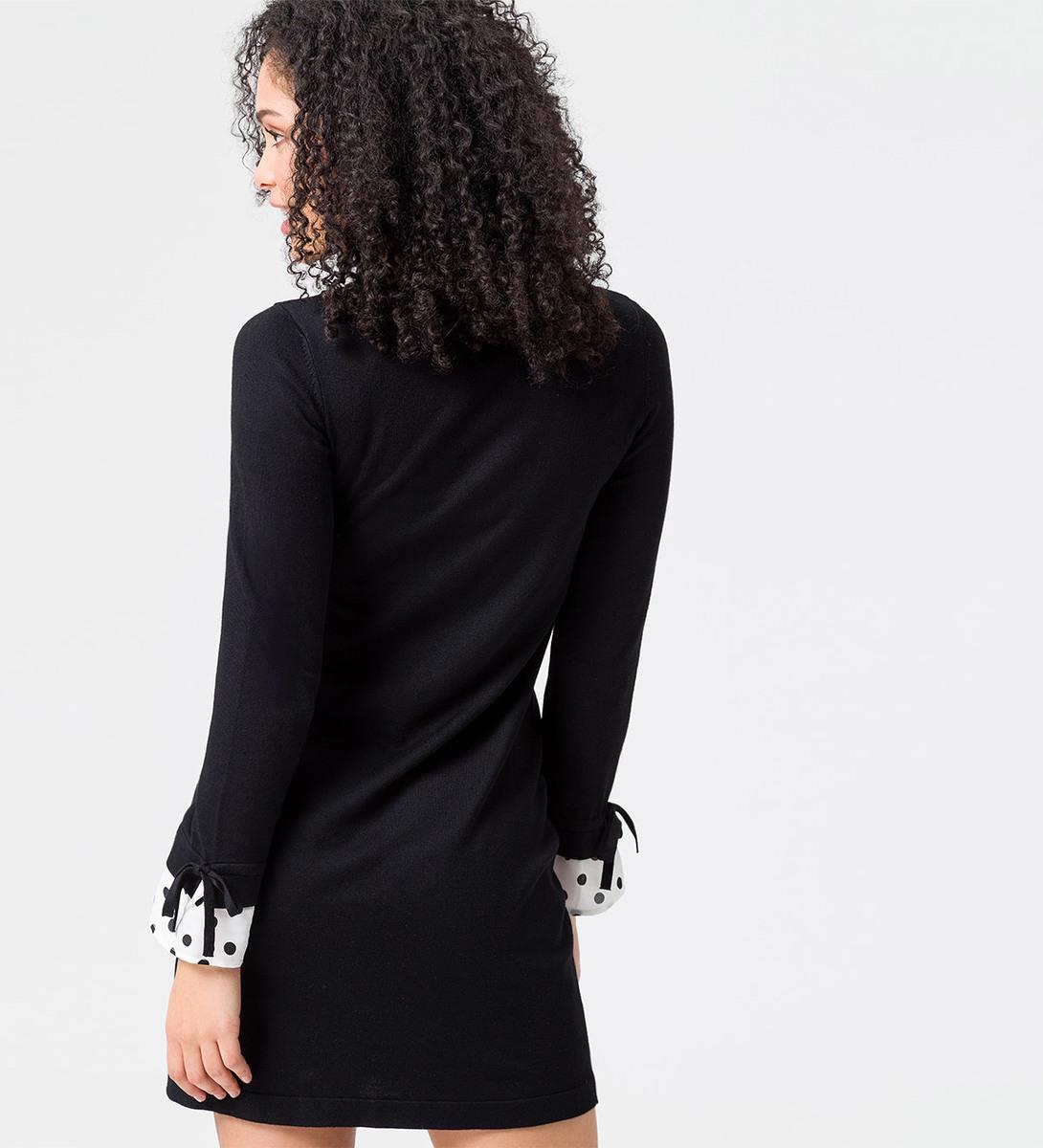 Strickkleid mit langen Ärmeln in black