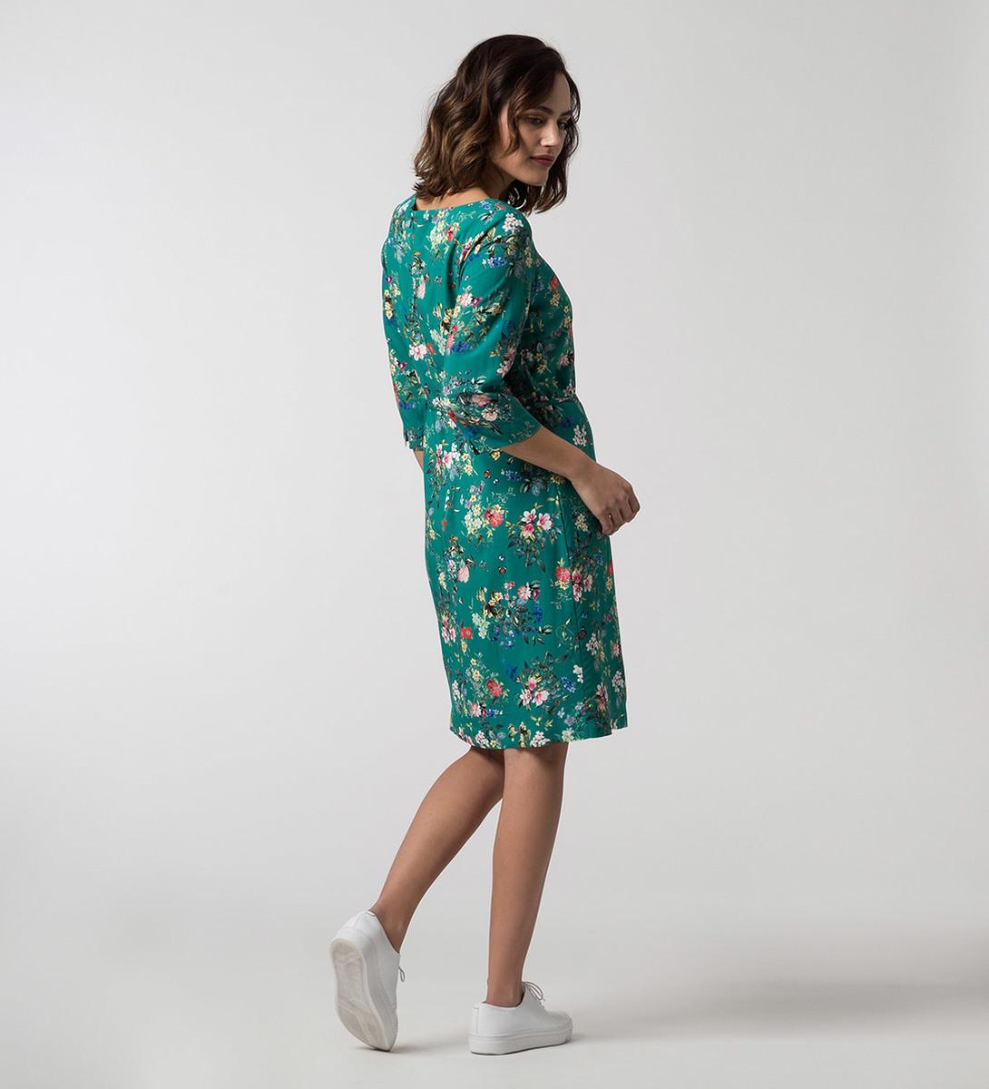 Kleid mit Blumen in ivy green