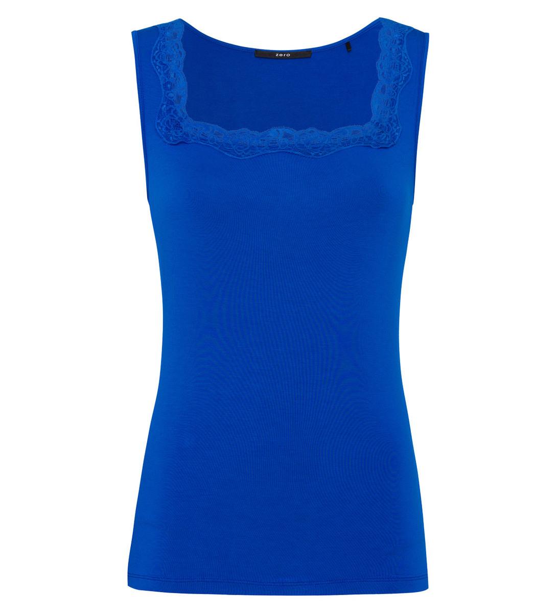 Top mit Spitze in cobalt blue