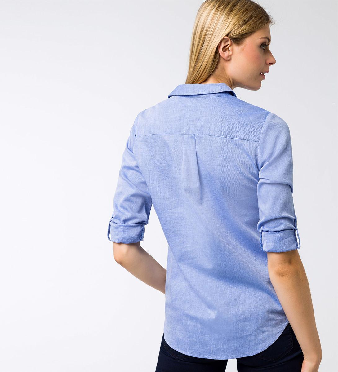 Bluse mit verkürzter Knopfleiste in cobalt blue