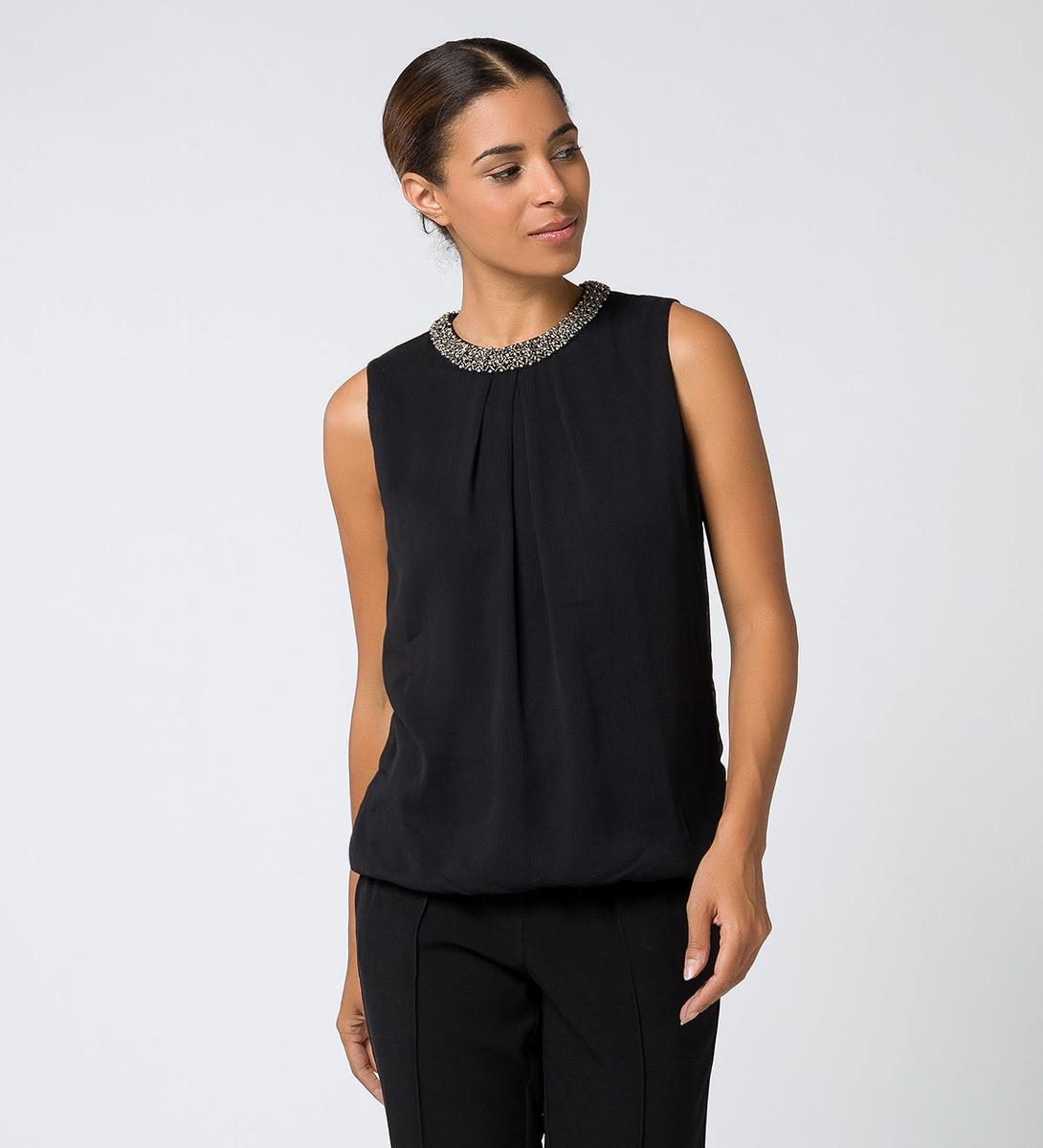 Bluse mit perlenbesticktem Kragen black