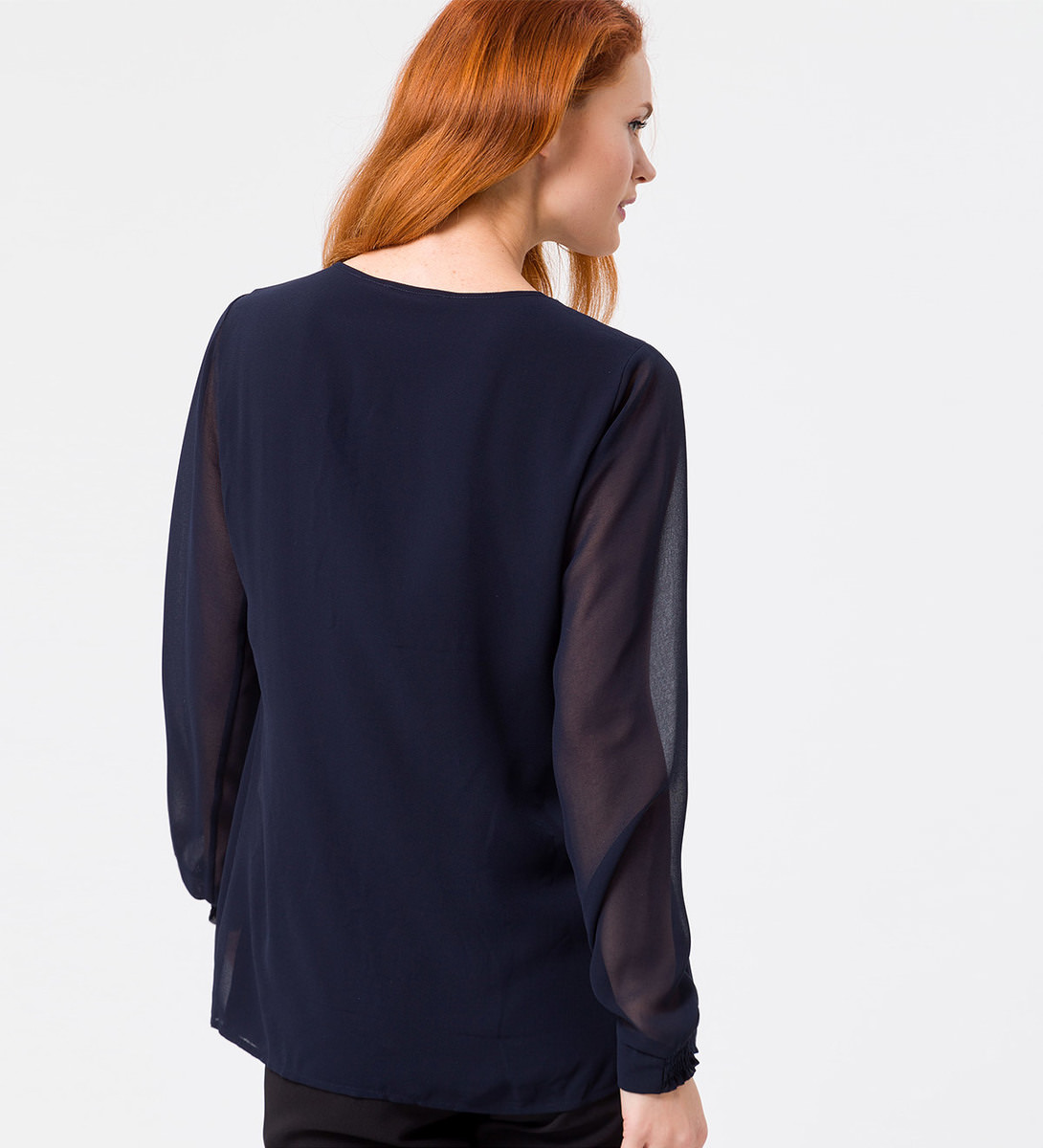 Bluse mit transparenten Ärmeln in blue black