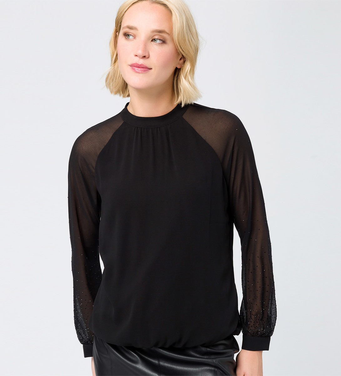 Bluse mit Glitzersteinchen in black