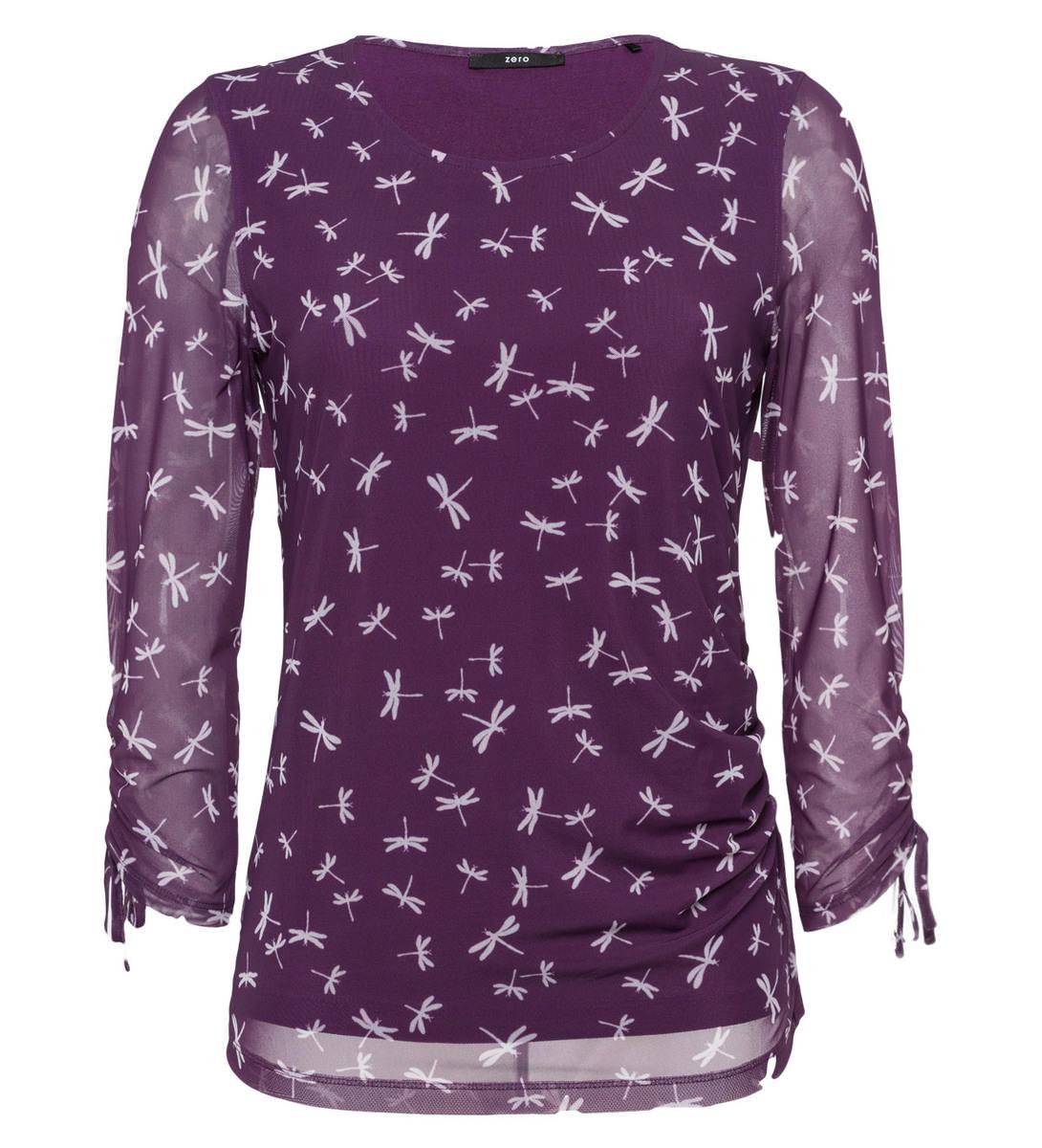 Shirt mit Alloverprint in plum