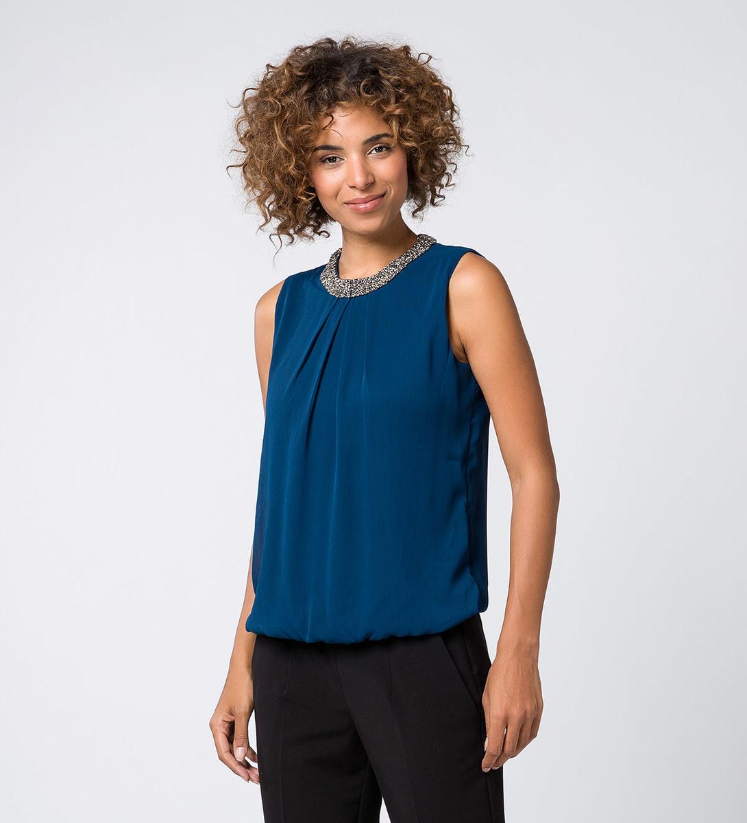 Bluse mit perlenbesticktem Kragen petrol blue