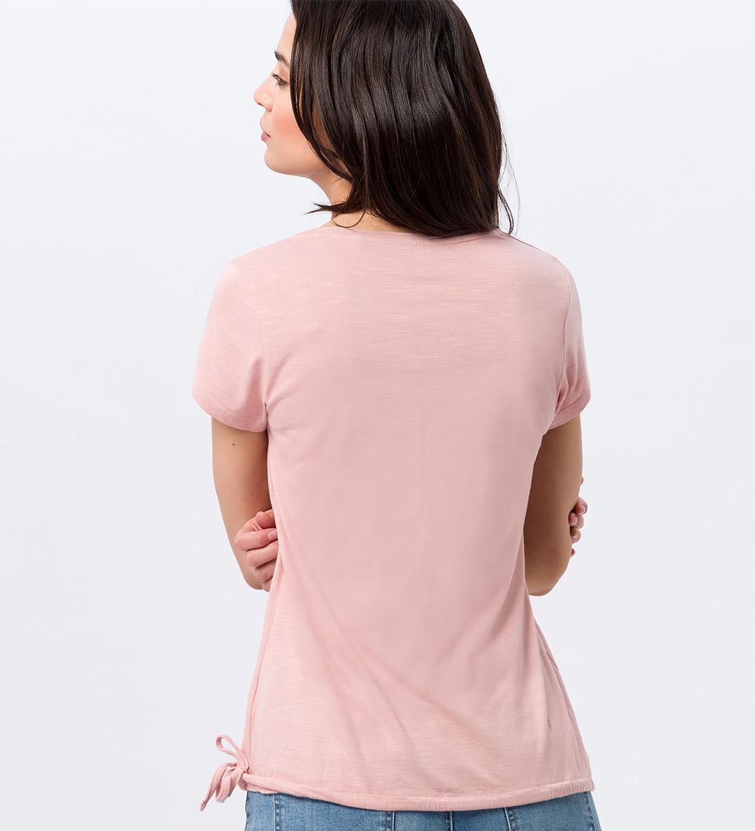 Shirt mit Tunnelzug am Bund in dusty pink