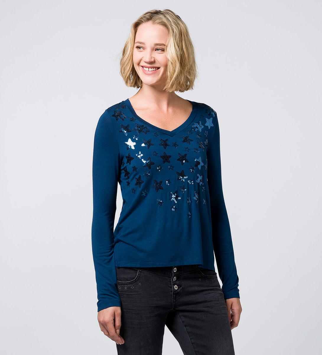 T-Shirt mit Applikationen petrol blue